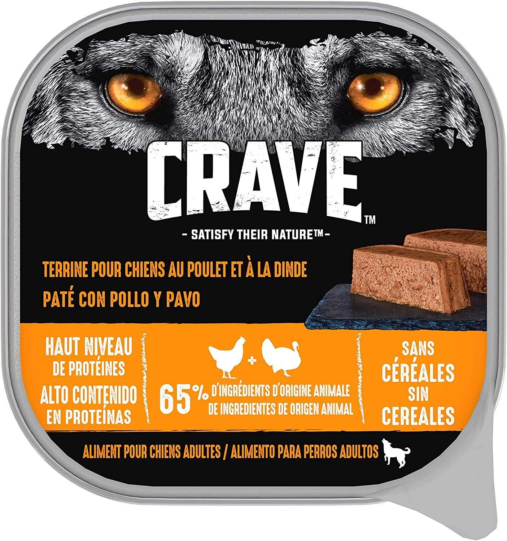 Crave Comida Húmeda para Perros Adultos Sabor Pollo y Pavo (Pack de 10 x 300g)