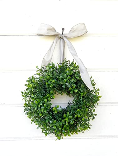 mini window wreath mini boxwood wreath christmas wreath holiday wreath country cottage - Small Christmas Wreaths