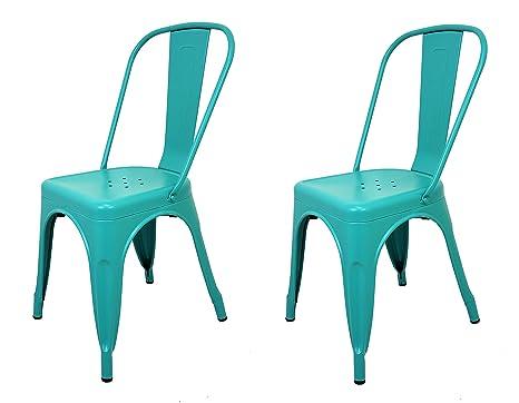 La Silla Española - Pack 2 Sillas estilo Tolix con respaldo. Color Turquesa. Medidas 85x54x45,5