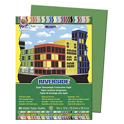 "Riverside 103596 Construction Paper, 0.4"" Height, 9"" Width, 12.1"" Length, Green (Pack of 50): Industrial & Scientific"