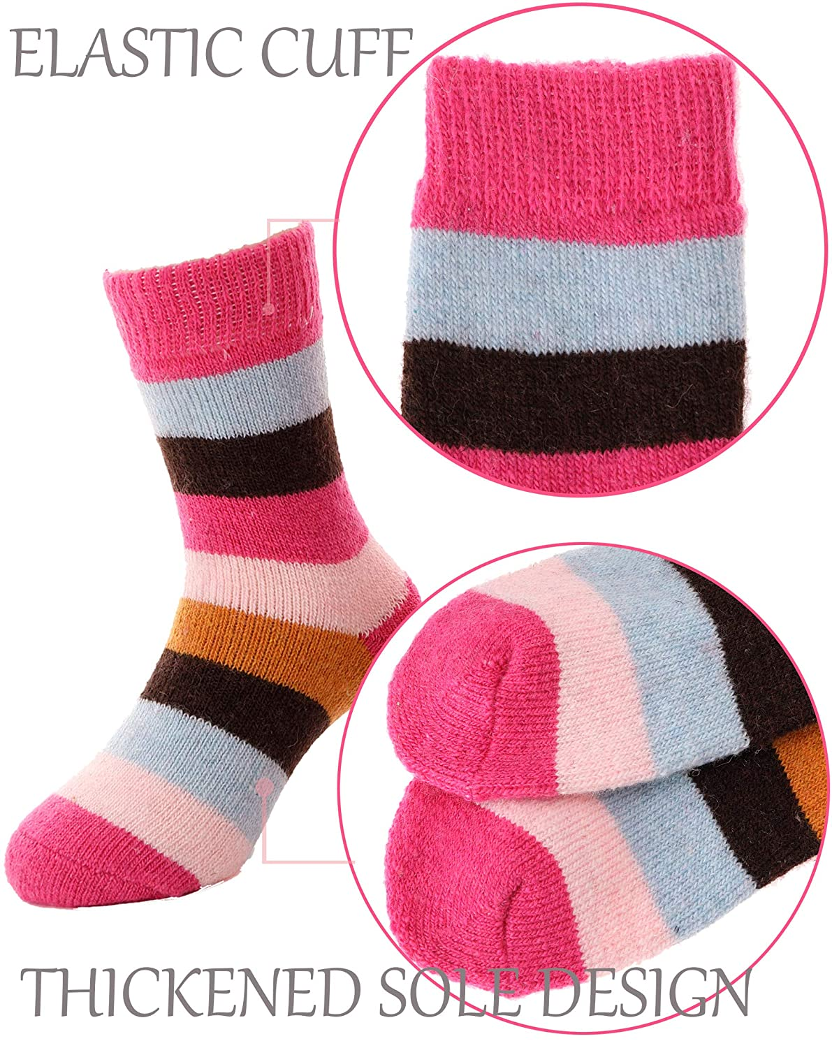 Boys Girls Cat Wool Socks Warm Thermal Thick Cotton Winter Crew Socks For Child Kid Toddlers 5 Pairs