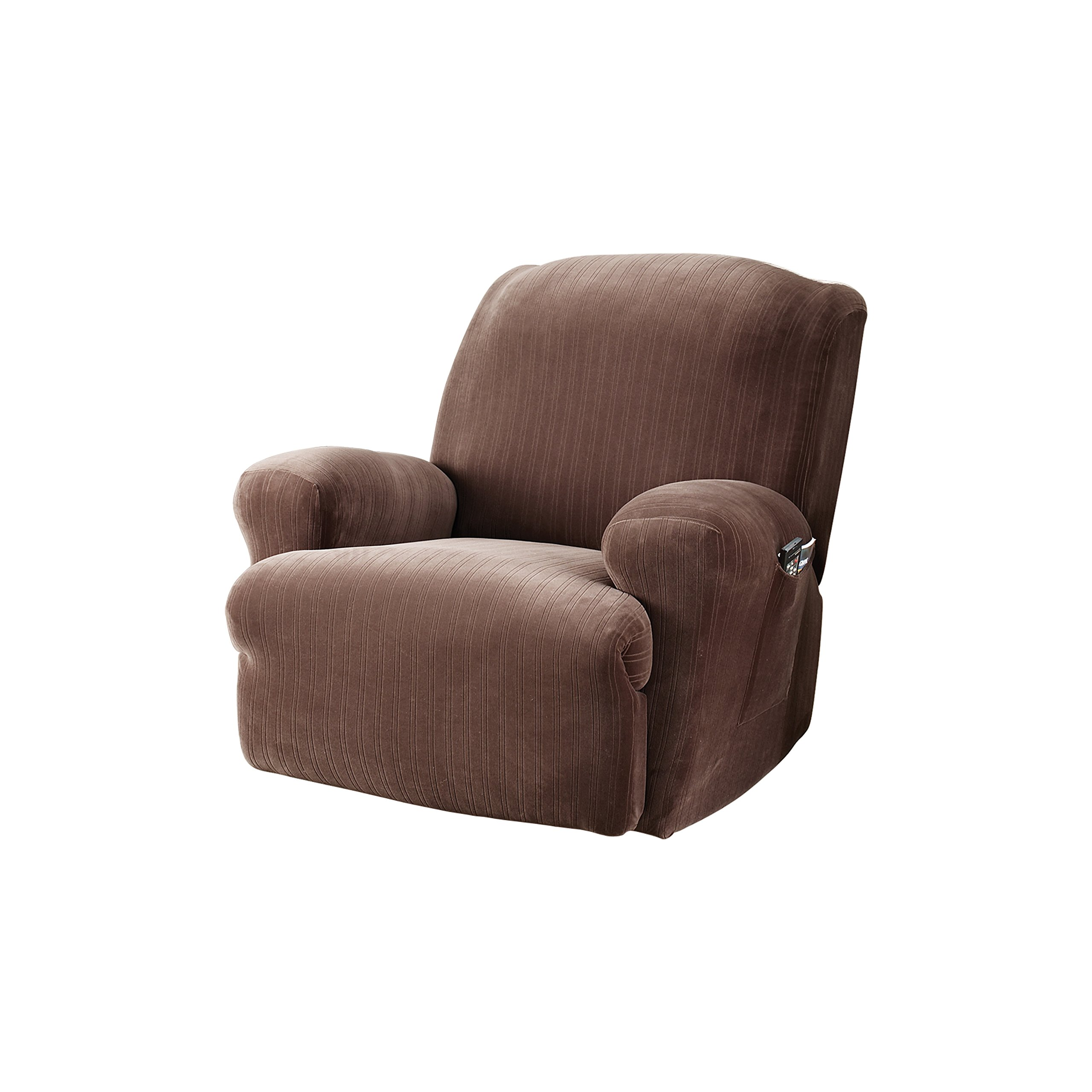 Sure Fit Stretch Pinstripe 1-Piece  - Recliner Slipcover  - Chocolate (SF37383)