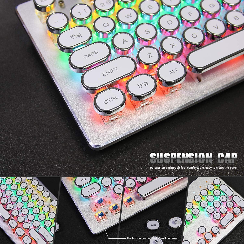 USB LED Backlit Retro Typewriter Mechanical Keyboard -Blue Switch Mechanical Gaming Keyboard for PC//Mac//Gamer//Typ Round Keycaps -104 Keys Vintage Inspired Steampunk Gaming Keyboard White
