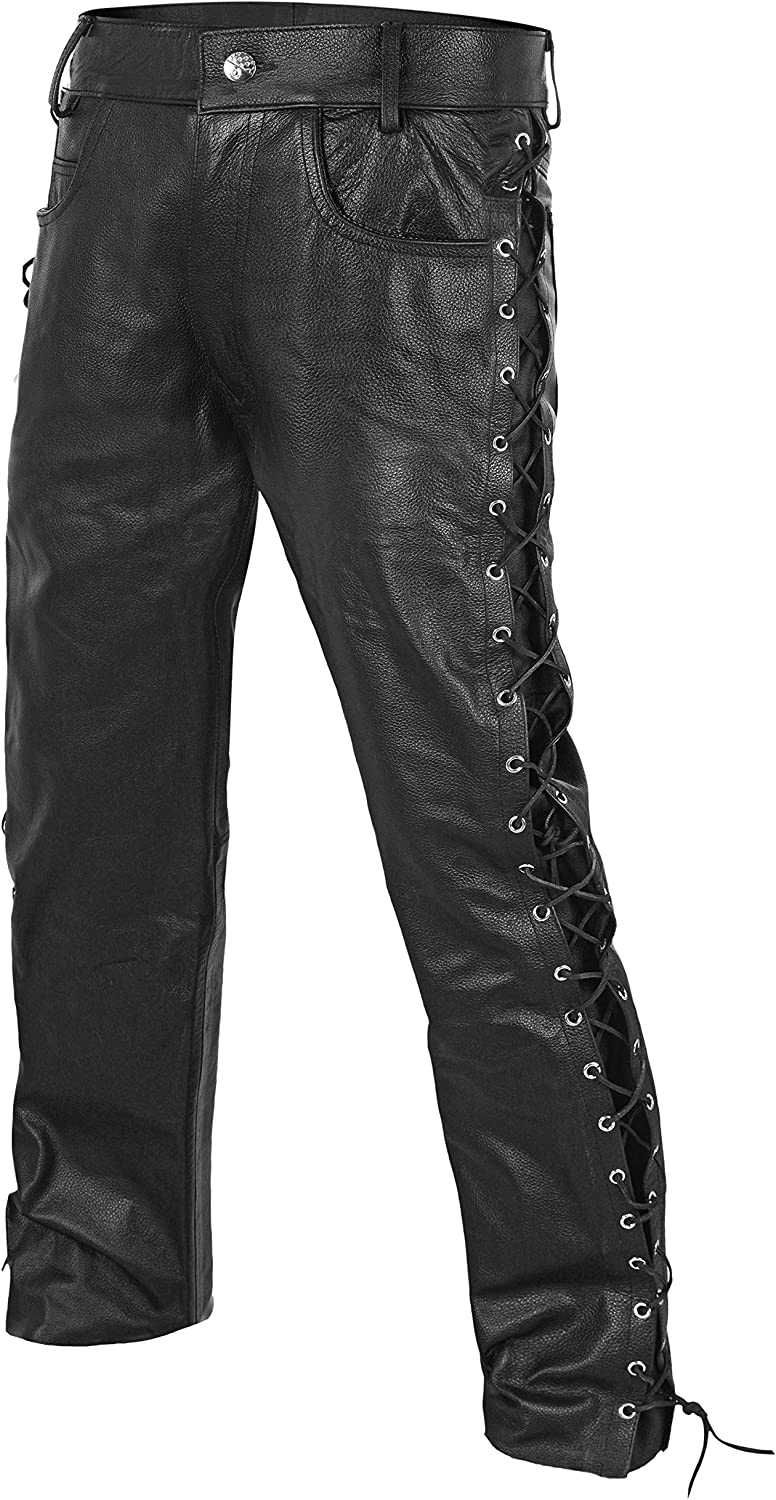 34 DEFY Mens Thick Cowhide Genuine Leather Full Grain Motorcycle Side Laces Leather Pants
