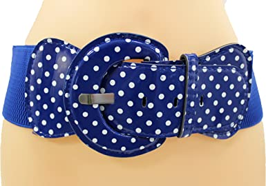 WOMEN HIP HIGH WAIST ELASTIC WAISTBAND BLUE FASHION BELT WHITE POLKA DOTS M L XL