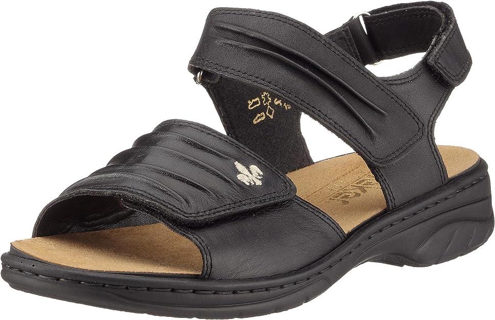 Rieker Damen 64560 Sandale Sandalette schwarz Leder NEU
