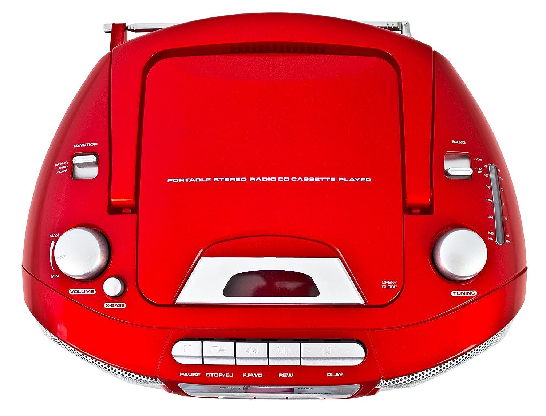 Karcher RR 5040 Oberon Radio Reproductor de CD portátil (Radio Am/FM, CD, Casete, AUX-in de Red/Funcionamiento de la batería) roja: Amazon.es: Electrónica