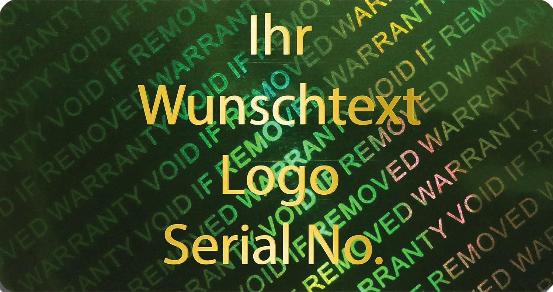 EtikettenWorld BV, EW-H-2700-67-tgo-700, 700 Stück Hologrammaufkleber, 2D, 20x40mm grünfarbige Metallfolie, bedruckt in Gold-glänzend mit Ihrem Wunschtext Logo, Hologramm Etiketten, selbstklebend, Hologramm Aufkleber, Sicherheitssiegel, Gar