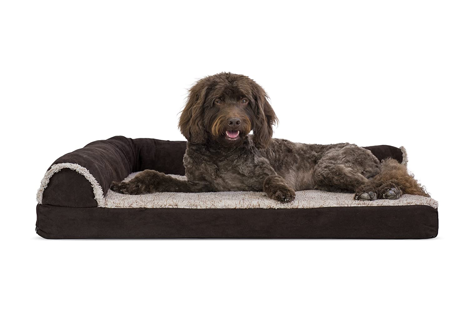 Two Sided-Espresso Large Two Sided-Espresso Large Furhaven Pet 84441081 Espresso Deluxe Chaise Lounge Cooling Gel Top Sofa Pet Bed, Large