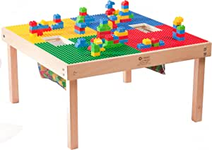 """Heavy Duty Large DUPLO Compatible Table with 2 Built-in Lego Storage(Patent)-32"""" x 32""""-Made in The USA!-PREASSEMBLED- Premium Series- Solid Wood Legs & Frames-Ages 1 to 5"""