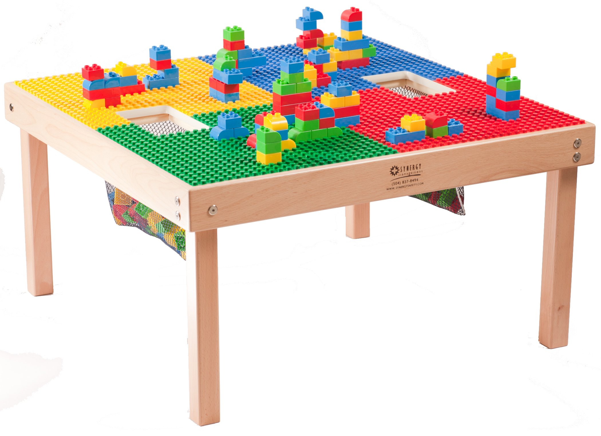 HEAVY DUTY LARGE DUPLO TABLE with 2 Built-In Lego Storage(patent)-32'' x 32''-''MADE IN THE USA!''-''PREASSEMBLED''- Premium Series- Solid WOOD Legs & Frames-AGES 1 TO 5