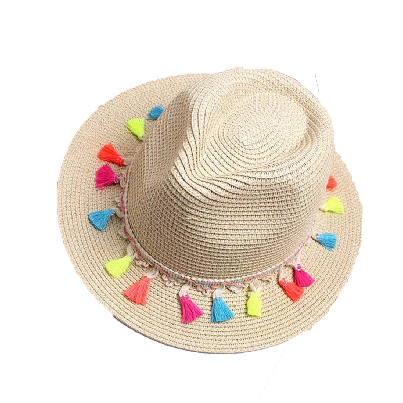 6a3d8127 Amazon.com: Women's Beach Sun Hats 2018 Summer Fashion Candy Edge  Strawberry Jazz Panama Fedora Trilby Sun hat,Beige: Clothing
