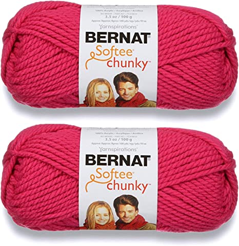 Bernat Softee Chunky Yarn 2 Skeins Hot Pink