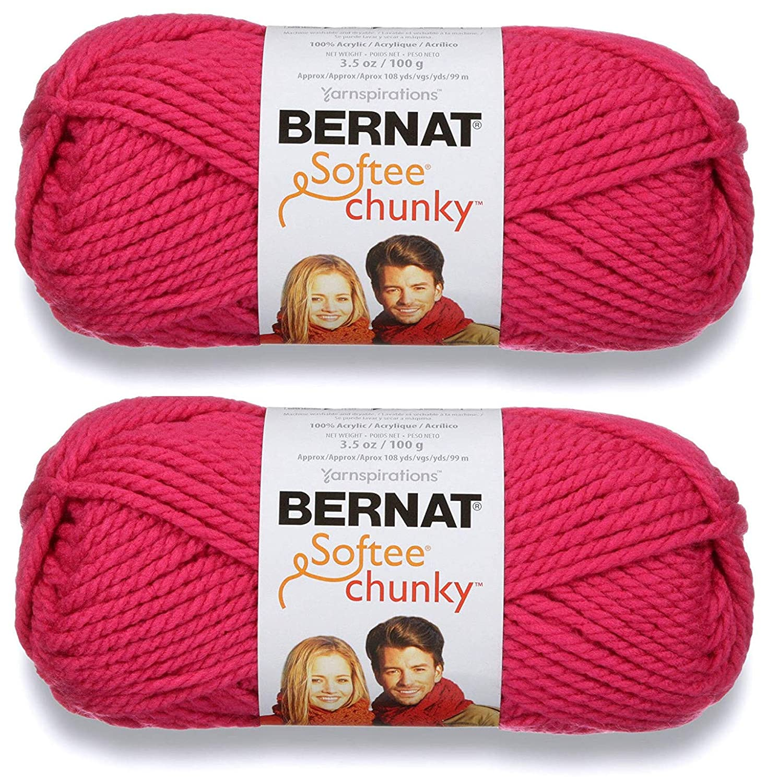 2-Pack - Bernat Softee Chunky Yarn, Hot Pink, Single Ball B07L59VFCD