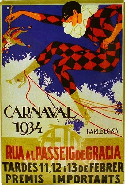 Art Escudellers Cartel Póster publicitario de chapa metálica con diseño retro vintage de Catalunya/España