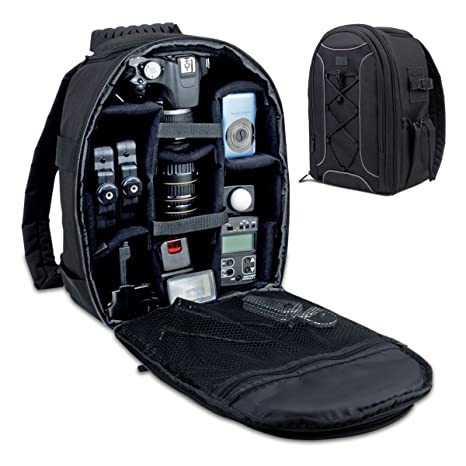 b7ba62b3bf32 USA Gear Camera Backpack DSLR Case with Storage Dividers, Accessory Pockets  & Waterproof Rain Cover