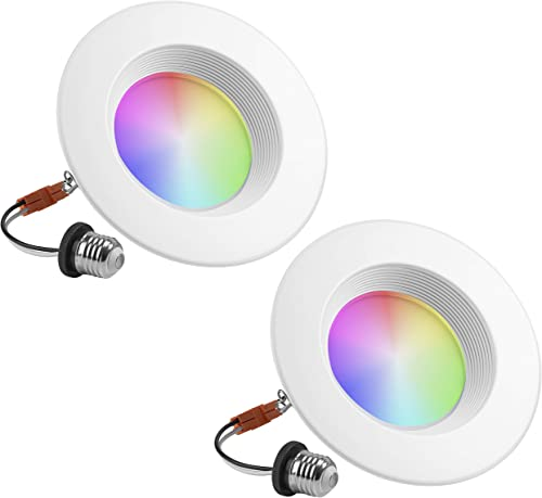 Geeni Prisma Plus 6 Smart Wi-Fi LED Dimmable Multicolor Downlight 2700K-5000K 2-Pack 80-Watt Equivalent No Hub Required Work