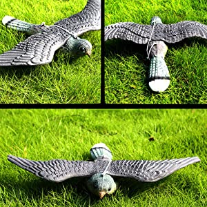 GEZICHTA Garden Decoration, Lifelike Flying Hawk Fake Bird, Prey Pest Control