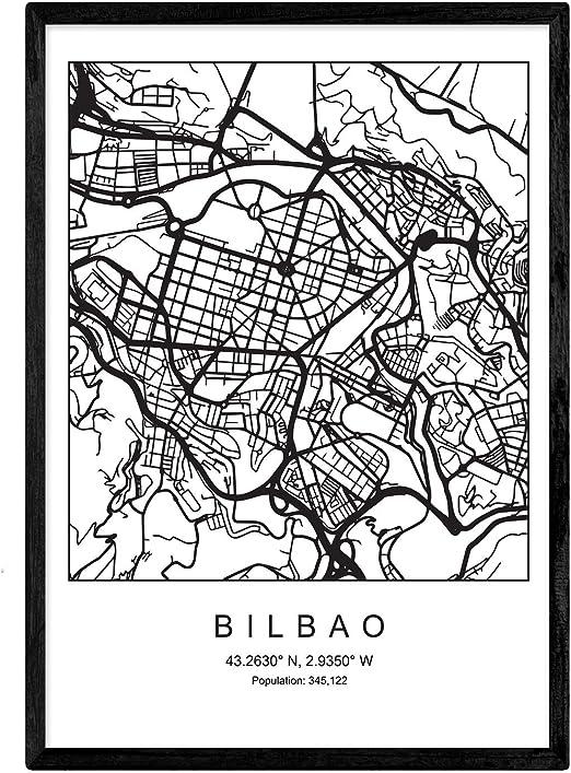 Nacnic Lámina Mapa de la Ciudad Bilbao Estilo nordico en Blanco y ...