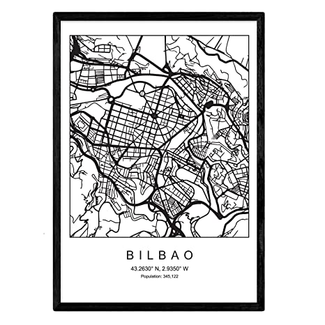 Nacnic Lámina Mapa de la Ciudad Bilbao Estilo nordico en Blanco y Negro. Poster tamaño A3 Sin Marco Impreso Papel 250 gr. Cuadros, láminas y Posters ...