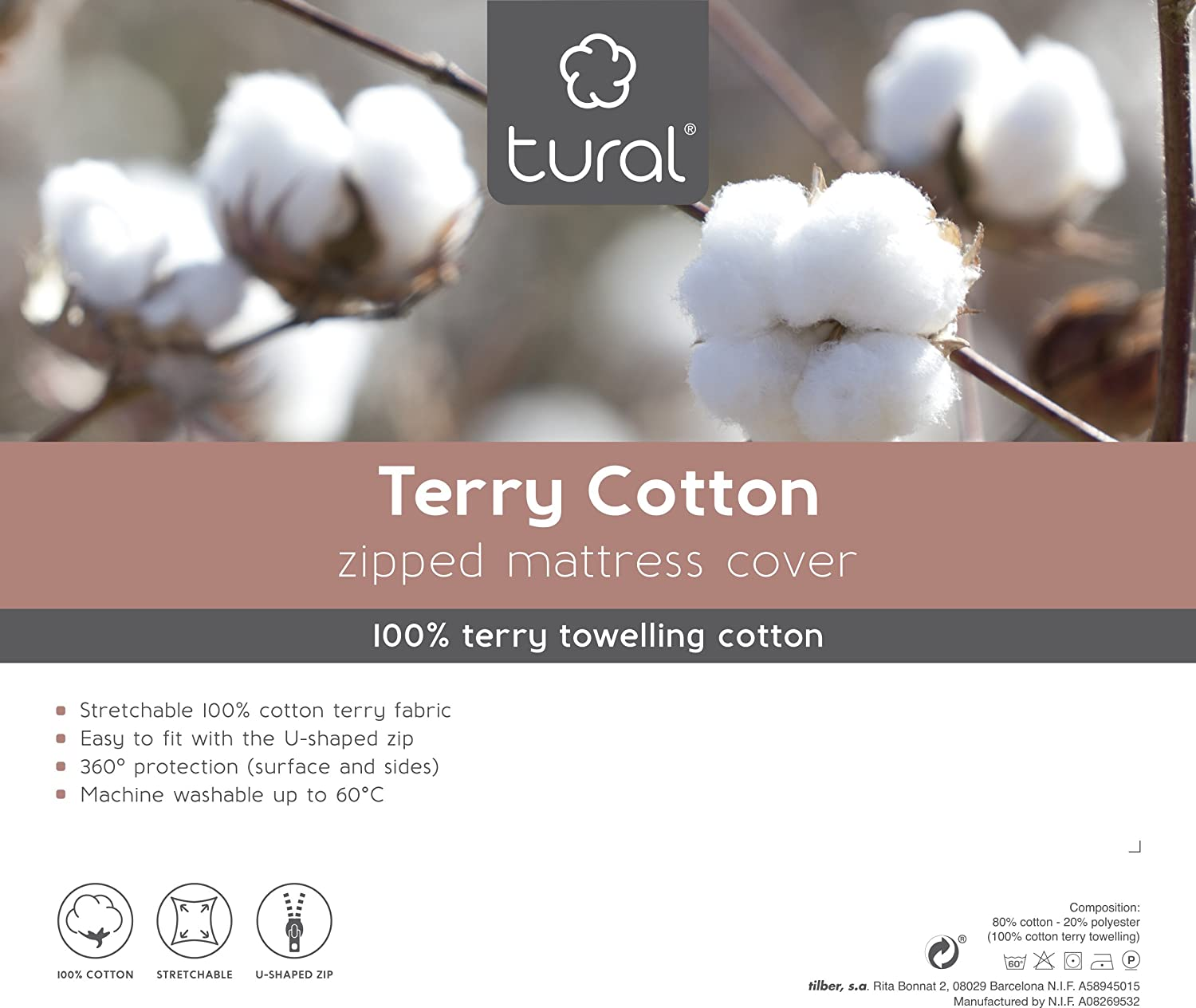 Elastic Terry Cotton Fully Enclosed Mattress Cover 100/% Terry Cotton Tural Cot Size Size 70x140cm