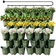 Worth Garden 36 Pockets Self Watering Vertical Planters Indoor Outdoor Living Wall Mounted - 9' Automatic Dripping Irrigation