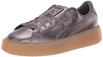 e9f86f3737c8 PUMA Women s Basket Platform Patent Sneaker Quiet Shade