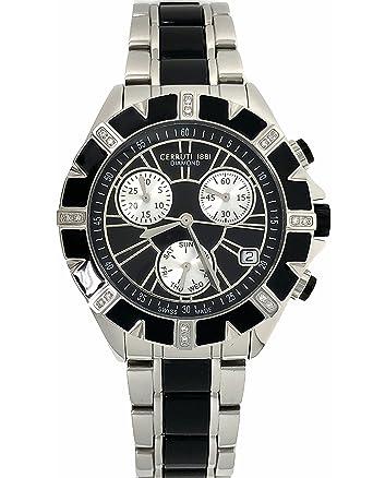 b022595b03 Amazon.co.jp: Cerruti 1881ダイヤモンドクロノグラフ腕時計ブラックシルバートーンステンレススチールセラミックストラップスイス製:  腕時計
