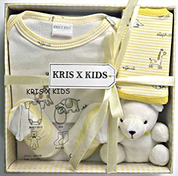 26e39609daf82 Newborn Baby 4 Pcs Gift Set 0-3 Months. Available In Blue or Pink or Lemon  or White (Lemon Set)  Amazon.co.uk  Baby