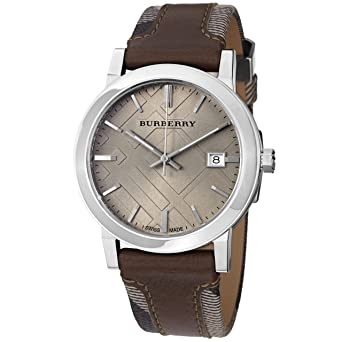 7b2a8c2b65ec Image Unavailable. Image not available for. Color  Burberry Men s BU9020 Large  Check Leather on Canvas Strap Watch
