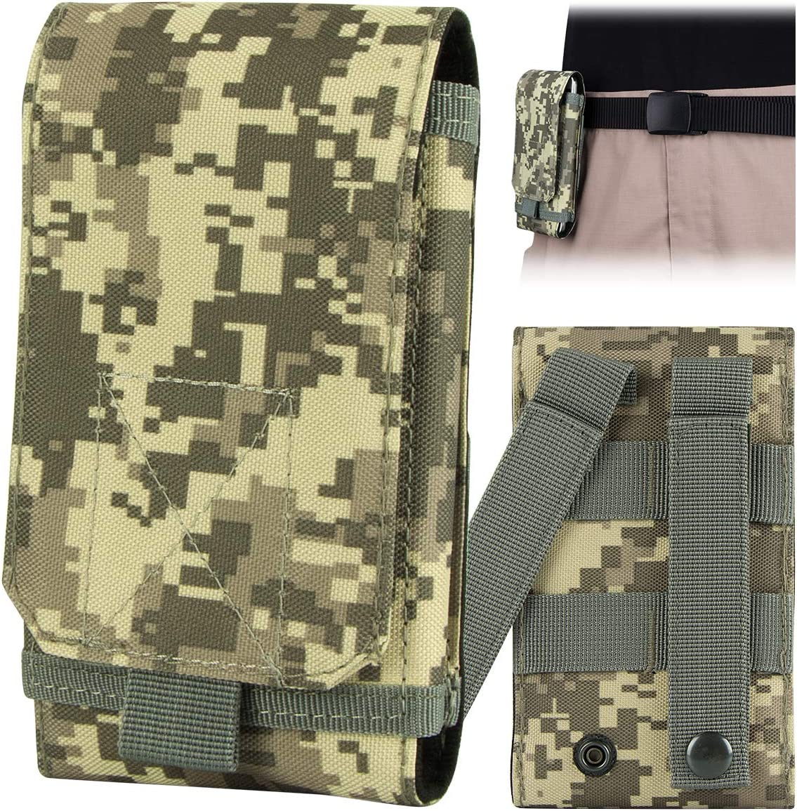 IronSeals Tactical MOLLE Smartphone Holster Universal Mobile Phone Belt Pouch EDC Security Pack Carry Accessory Pouch Belt Loops Waist Bag