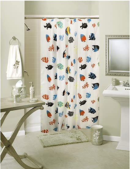 Lushomes Polyester and Blend Digital Fish Design Shower Curtain with 12 Eyelets and 12 Hooks (Multicolour, 71x78-inch)