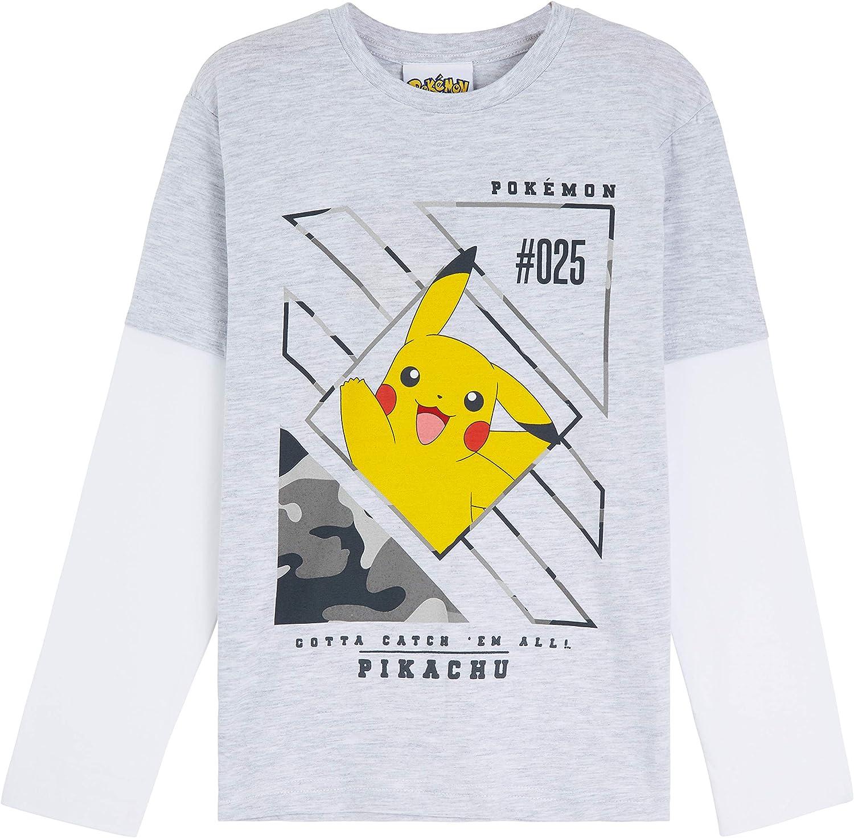Pokèmon Camiseta Niño, Camisetas de Manga Larga Gris y Negra, con Pikachu Bulbasaur Charmander y Squirtle, Regalos para Niños y Adolescentes 3-13 Años: Amazon.es: Ropa y accesorios