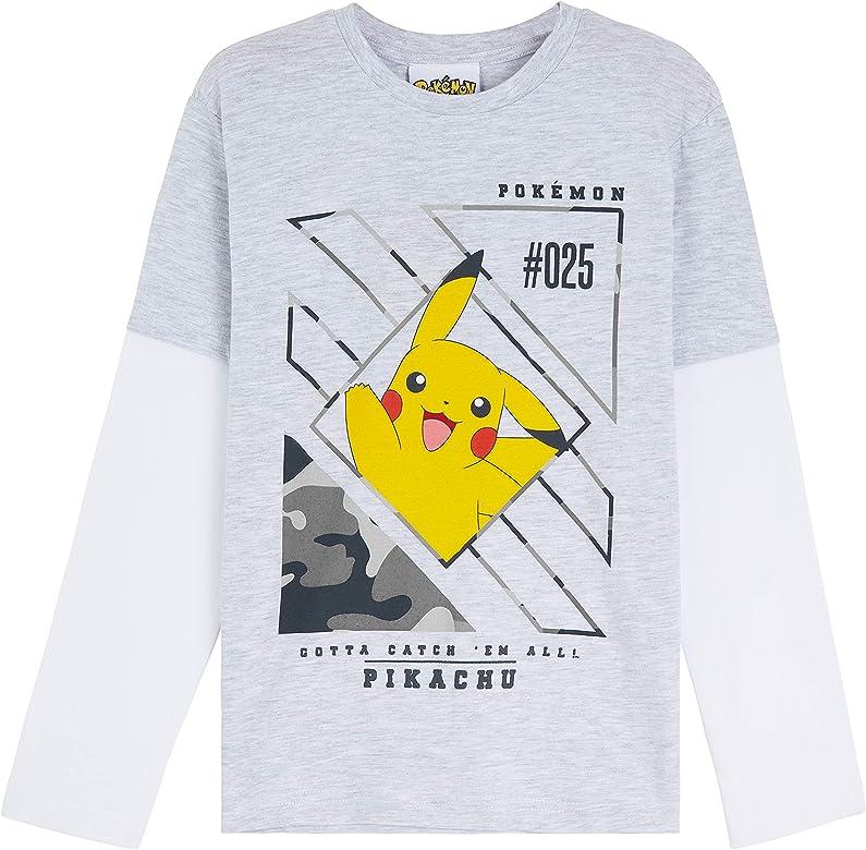 Pokèmon Camiseta Niño, Camisetas de Manga Larga Gris y Negra, con Pikachu Bulbasaur Charmander y Squirtle, Regalos para Niños y Adolescentes 3-13 Años (3-4 años, Gris): Amazon.es: Ropa y accesorios