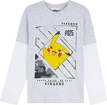 Pokemon Camiseta Niño, Camisetas de Manga Larga con Pikachu Bulbasaur Charmander y Squirtle, Regalos para Niños y Adolescentes 3-14 Años