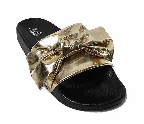 ab1e2926b4983 Kali Footwear Womens Satin Bow Ribbon Tie Knotted Soft Comfort Slip on  Slide Sandal