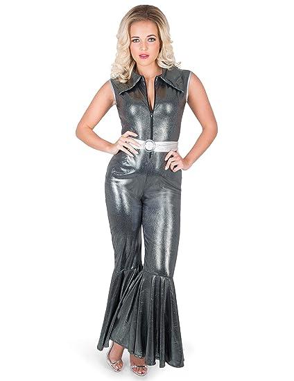 Generique - Disfraz Traje Disco Plateado Mujer XL: Amazon.es ...