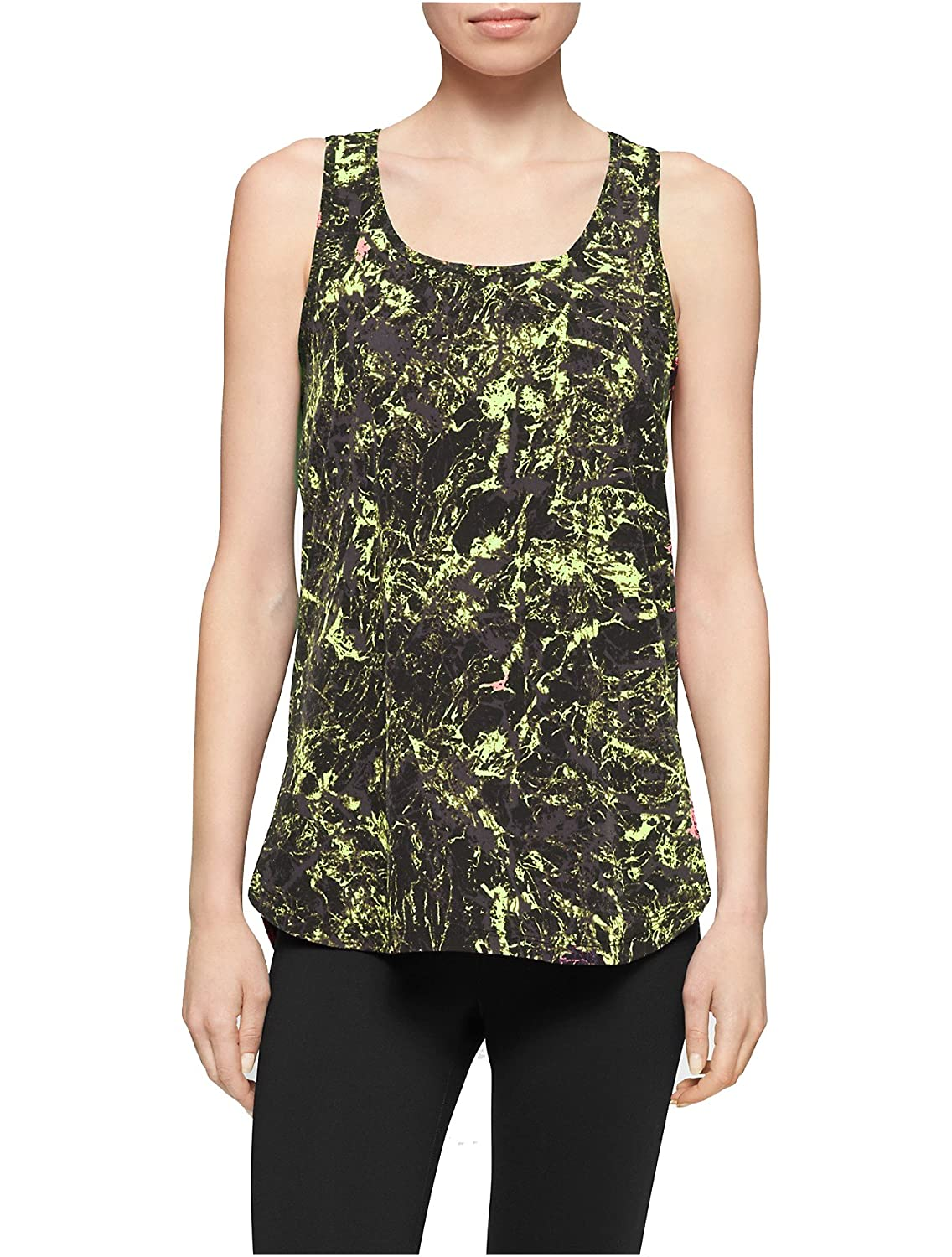 Calvin Klein High-low Racerback Tank Top Yellow/Black X-Large