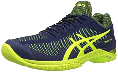 ASICS Gel-Court FF Mens Tennis Shoes, Indigo Blue/Safety Yellow, 12