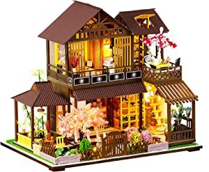 Spilay DIY Dollhouse Miniature with Wooden Furniture Kit,Handmade Mini Japanese Style Home Craft Model Plus Dust with Music Box,1:24 Scale Creative Doll House Toys for Teens Adult Idea Gift