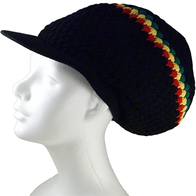 df07dc92473 Shoe String King SSK Rasta Knit Tam Hat Dreadlock Cap (Large Round Blk Red