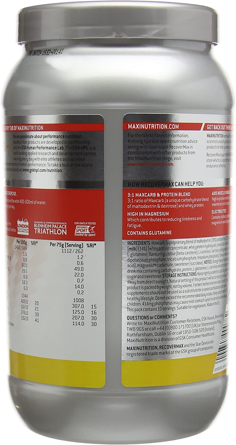 MaxiNutrition Maxifuel Recovermax Sports Recovery Drink, 750 g - Orange:  Amazon.co.uk: Health & Personal Care