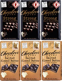 product image for Chocolove Strong Dark chocolate, Salted Almond Butter in Dark chocolate 3.2 oz (3 bars of each flavor)