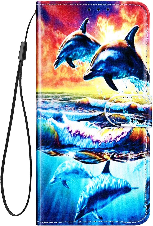 Surakey Cover Compatibile con Samsung Galaxy J3 2017//J330 Custodia Flip PU Pelle Elegante Motivo Case con Elementi a Marmo Supporto Porte Carte Anti-Scratch Portafoglio Custodia,Delfino