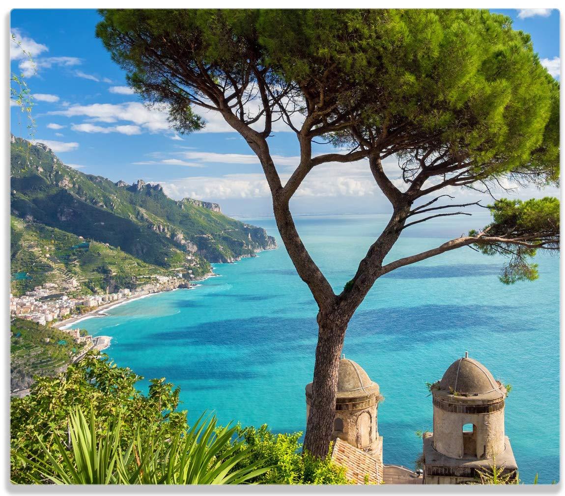 Wallario Herdabdeckplatte/Spitzschutz aus Glas, 1-teilig, 60x52cm, für Ceran- und Induktionsherde, Italienische Küste Italienische Küste posterdepot