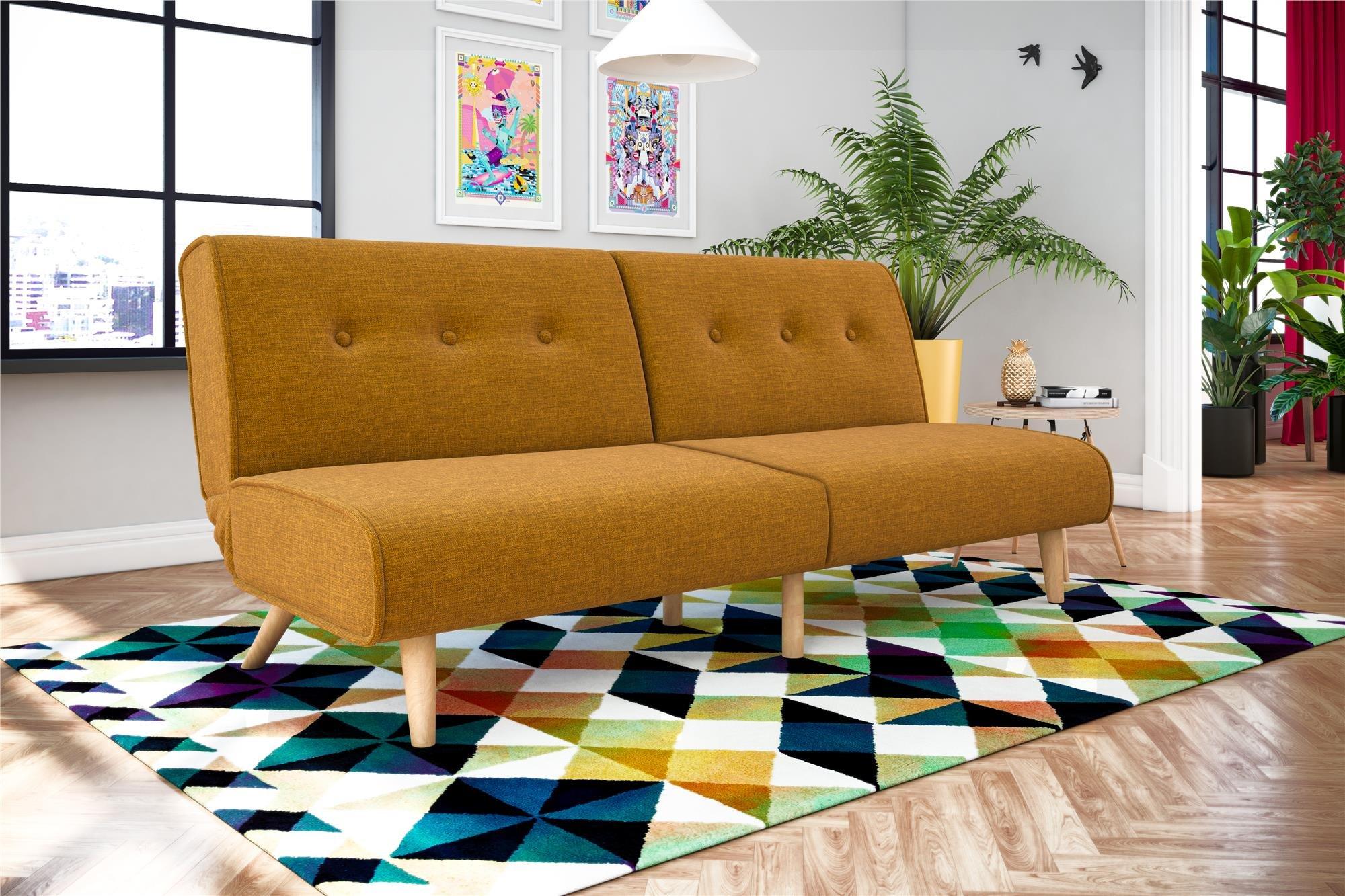 Novogratz Palm Springs Convertible Sofa Sleeper in Rich Linen, Sturdy Wooden Legs and Tufted Design, Mustard Linen by Novogratz