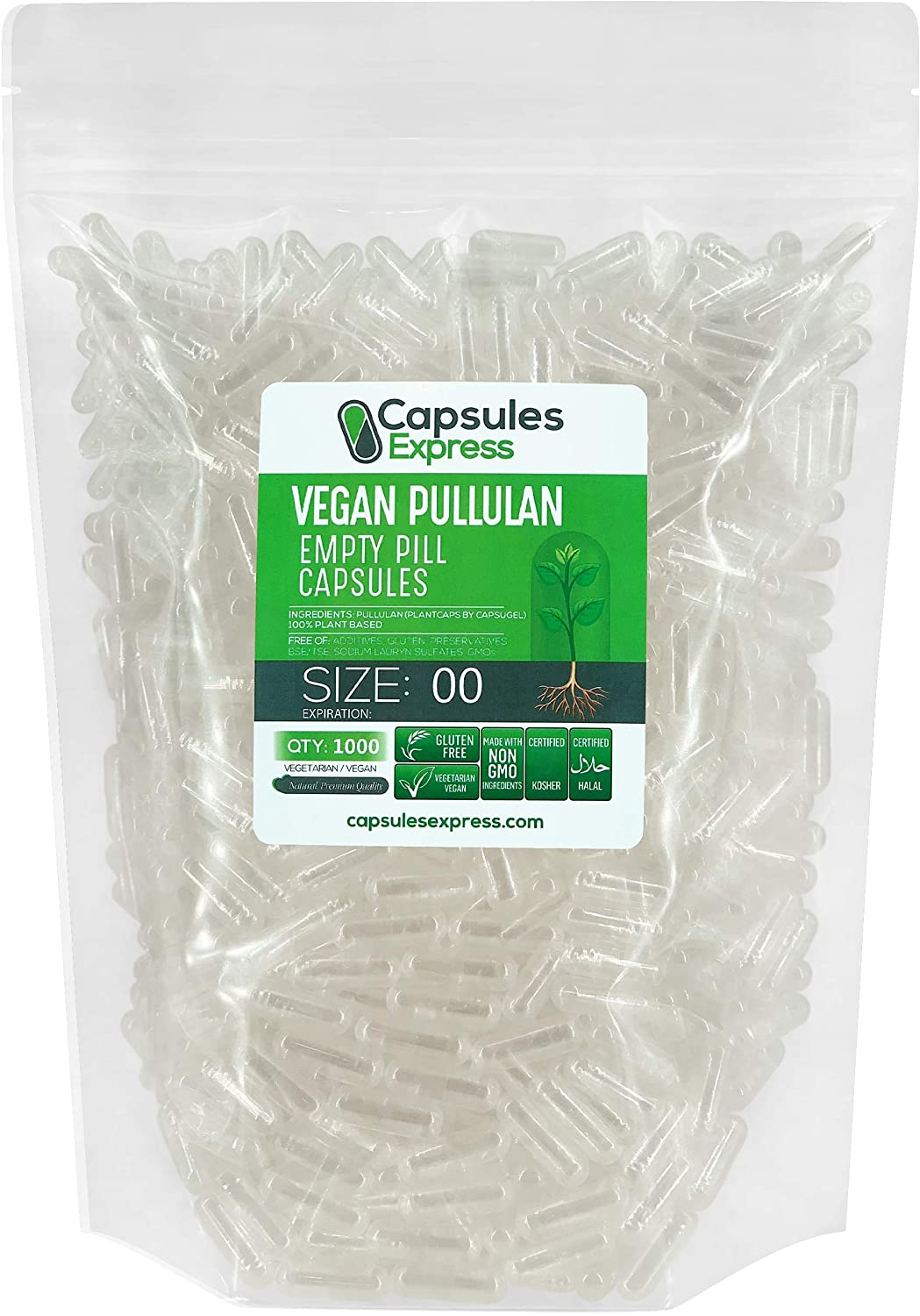 Capsules Express - Size 00 Plantcaps Clear Empty Vegan Pullulan Capsules Kosher and Halal - Vegetarian/Vegetable Pill Capsule - DIY Powder Filling (1000)