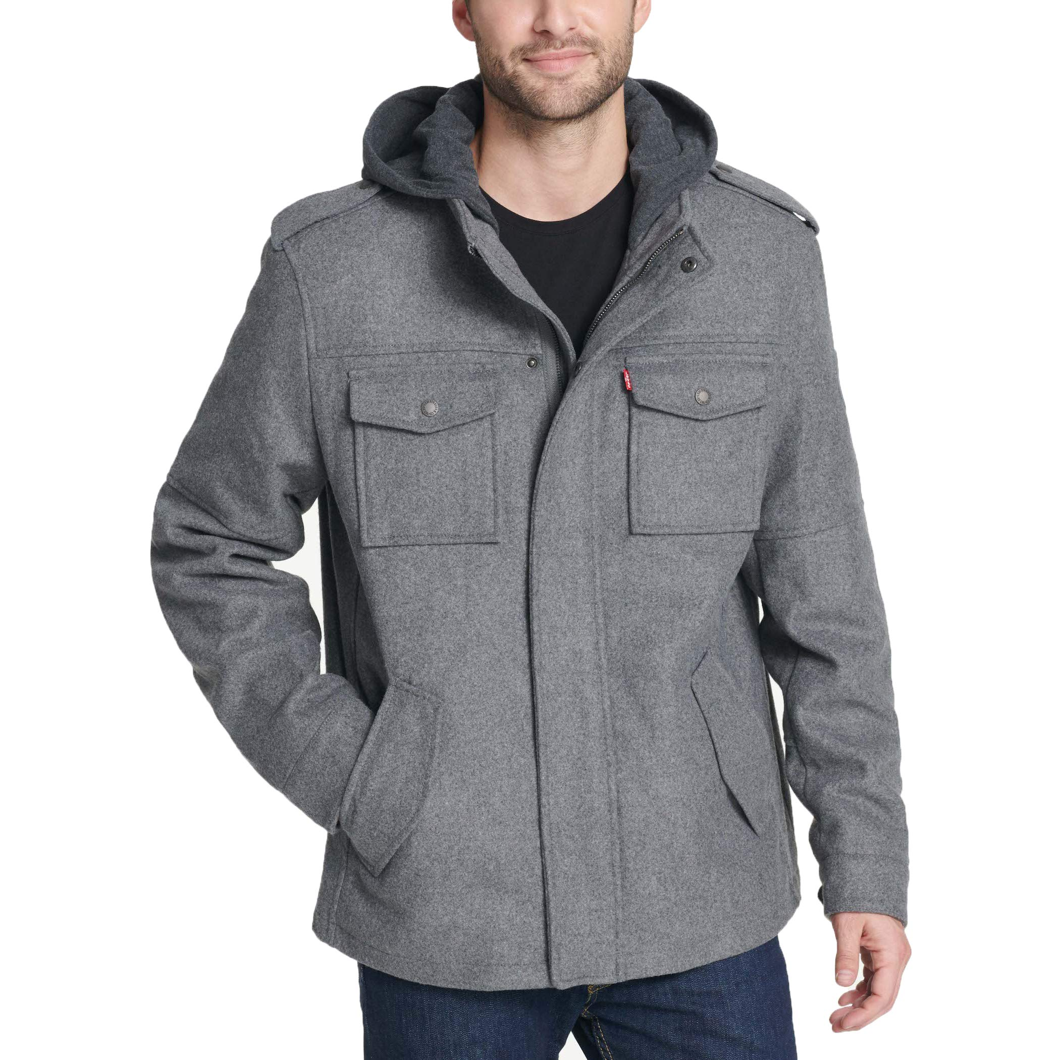 Levi's Men's Wool Blend Military Jacket with Hood, Light Grey, XX-Large by Levi's