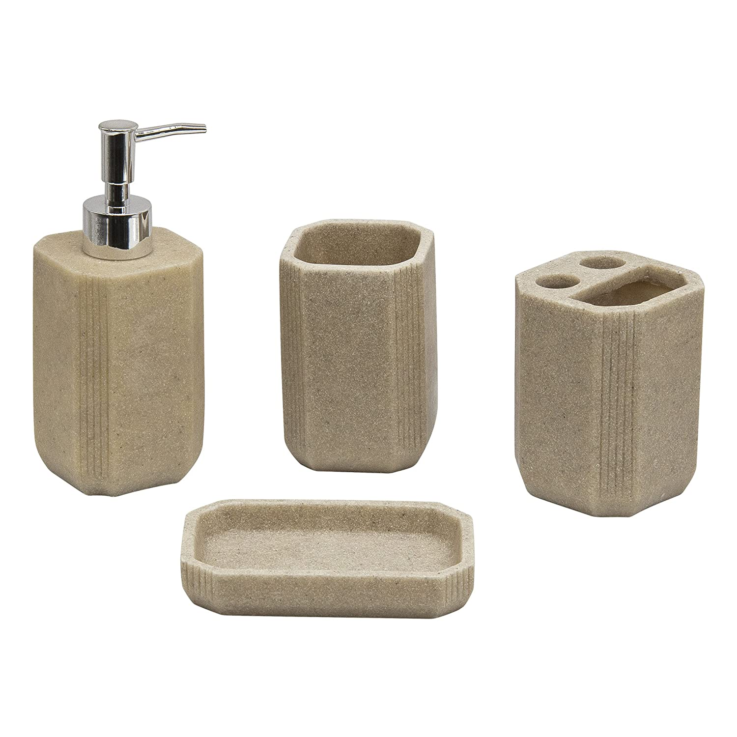 4pc Bathroom Accessories Set - Toothbrush Holder, Soap Dish, Soap/Lotion Dispenser, Tumbler, Cream SQ Professional Others