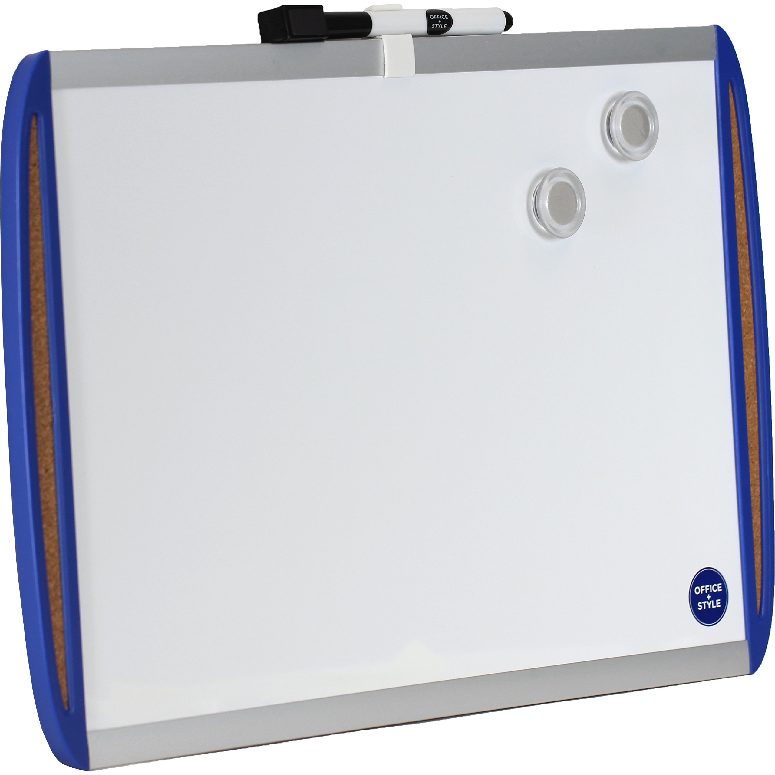Office Style Magnetic Dry Erase Board with Corkboard Side Panels, Blue, 11''x17''